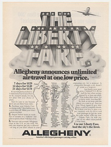 1975 Allegheny Airline Liberty Fare Unlimited Travel Print Ad