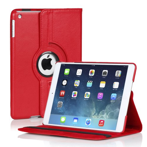 TNP Apple iPad Air Case (iPad 5th Gen, 2013 Model) Tablet - 360 Degree Rotating Stand Folio PU Leather Smart Classic Cover Case with Built-in Magnet for Auto Sleep & Wake Feature & Stylus Holder, Red (Waterproof Cas For Ipod 5 compare prices)