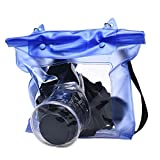 DDLBiz Waterproof Digital Camera DSLR Case Underwater Pouch Bag For Canon For Sony Blue