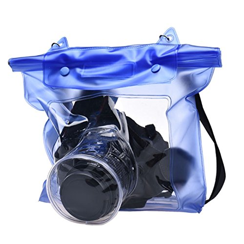 DDLBiz discount duty free DDLBiz Waterproof Digital Camera DSLR Case Underwater Pouch Bag For Canon For Sony Blue