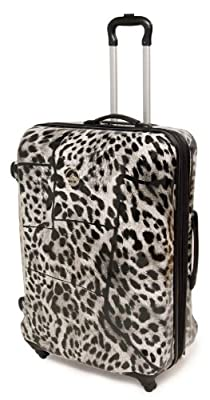 Rock Wyoming Hard Shell Four Wheel Spinner Printed Trolley Suitcase 50cm in Grey Snow Leopard Print