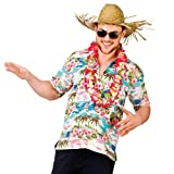 Hawaii Shirt - Pink Flower & Palm Trees (XL) Fancy Dress Stag Costume