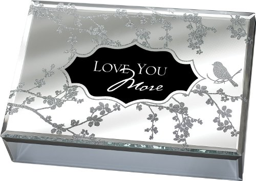 Love You More Large Deluxe Glass Mirror Jewelry Music Box - Plays Song You Light Up My Life