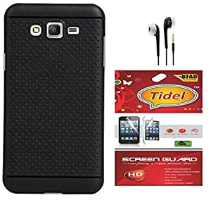 Tidel Exclusive Dotted Matte Finish Soft Back Cover for Samsung Galaxy J2 4G( Black ) With Screen Guard & 3.5mm Handsfree Earphone