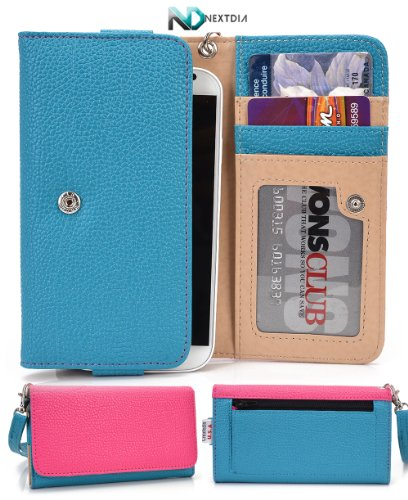 Sony Xperia Z1 Compact [Electric Blue/Fucshia] Universal Hand Clutch / Smart Phone Case + Complimentary Complimentary Nextdia ™ Velcro Cable Strap