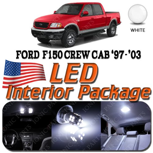 Super White 10 Light Bulbs Led Smd Interior Package - Ford F150 (Crew Cab 4 Door Only) 1997-2003