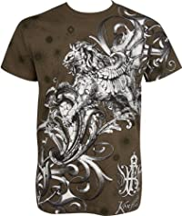 Lion and Vines Metallic Silver Embossed Short Sleeve Crew Neck Cotton Mens Fashion T-Shirt (Many Colors)