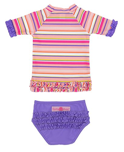 RuffleButts Fancy Stripe Ruffled Rash Guard Bikini - 12-18m