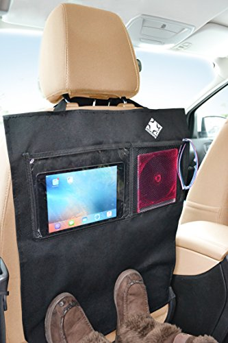 Kick Mats Bonus 2 Pack Seat Back Protectors and Back Seat Organizer with Clear Window for Ipad Mini or Tablet and Mesh Pocket Ideal Backseat Organizer Great for Car, Truck and SUV