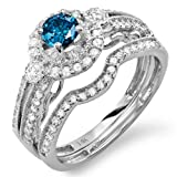 1.00 Carat (ctw) 14k White Gold Round Blue & White Diamond Ladies Halo Bridal Engagement Ring Set Matching Band 0.40 CT Center included