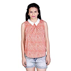 Tantra Matilda Women's Top, Peach Abstract Printed, Small
