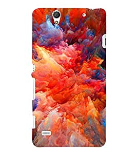 Multicolour Cloudy Pattern 3D Hard Polycarbonate Designer Back Case Cover for Sony Xperia C4 Dual :: Sony Xperia C4 Dual E5333 E5343 E5363