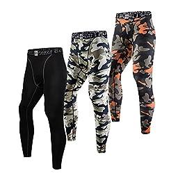 EU Men\'s Compression Tight Camo Pants Base Layer Running Leggings Large Orange