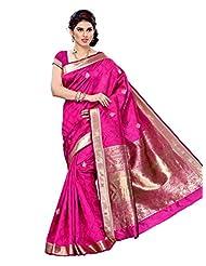 Mimosa Women Kanchipuram Art Raw-Silk Saree With Plain Blouse (Pink ,3153-2081-B-RANI)