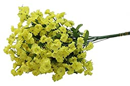 Admired by Nature AJ331-YELLOW Artificial Full Blooming Baby Breath Flowers Spray, Yellow