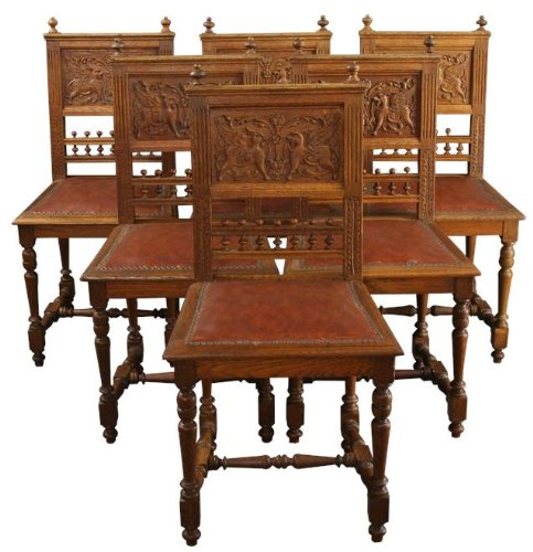 6ed1df261ccbd 6 Antique Dining Chairs France 1900 Renaissance Carved Winged Lions Leather