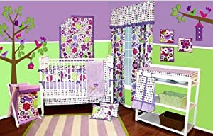 Botanical Purple 10 Pc Crib Set Bumper Free Crib Bedding Sets