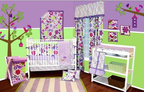 Botanical Purple 9pc Crib Set