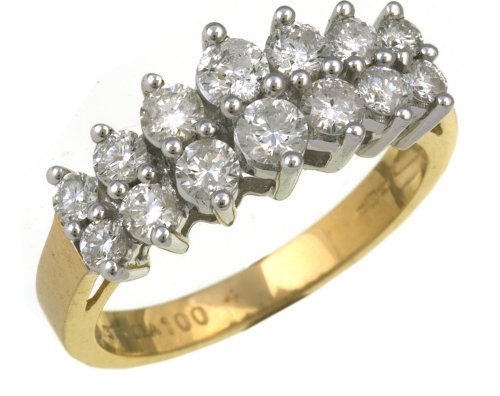 9ct Yellow Gold Ladies' Diamond Ring Size R