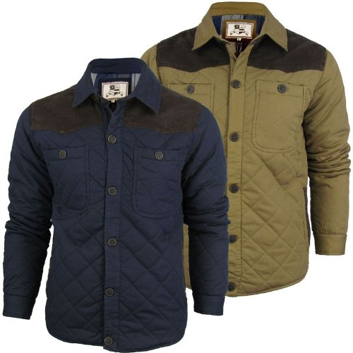 Mens Brave Soul 'Woody' Quilted Padded Jacket/ Coat - Tobacco