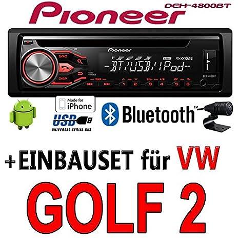 VW Golf 2 II - Pioneer DEH-4800BT - CD/MP3/USB Bluetooth Autoradio - Einbauset