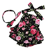 Fubin Baby Girl's Floral Print Ruffles Romper Summer Clothes With Headband,Black Rose,0-6 months (Color: Black Rose, Tamaño: 0-6 months)