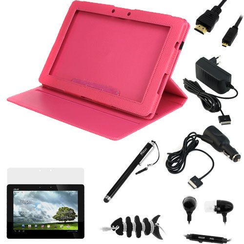 GTMax Black EU Euro Plug AC Travel Home Power Charger + Pink 360° Rotating Leather Stand Case + Screen Protector + Car Charger + 3ft HDMI Cable + Stylus + Handsfree + Headset Wrap for Asus Eee Pad Transformer Prime TF201 10.1-Inch Tablet