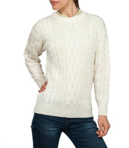 Wool Overs Womens Aran Sweater Cream Small (Wool Overs British Wool compare prices)