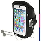 """iGadgitz Water Resistant Black Sports Jogging Gym Armband for Apple iPhone 6 & 6S 4.7"""""""