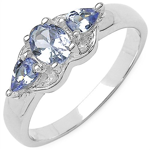 0.63CTW Genuine Tanzanite & White Diamond .925 Sterling Silver Ring (violet)