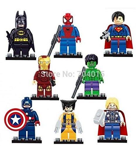 8pcs Super Heroes Iron Man Spiderman Superman Batman Hulk Wolverine Building Blocks Brick Minifigure Toy