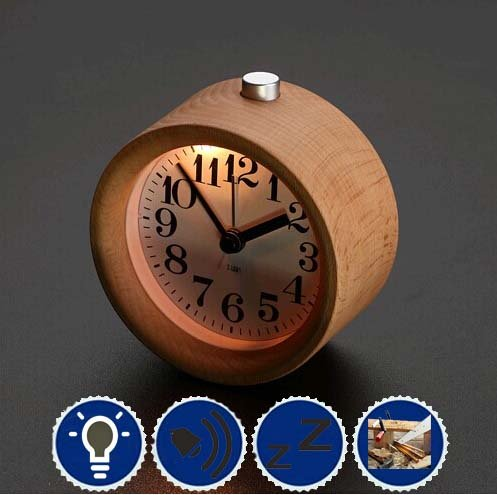 Best-mall Novelty Handmade Small Round Lazy Snooze Bedside Wood Alarm Clock With Nightlight