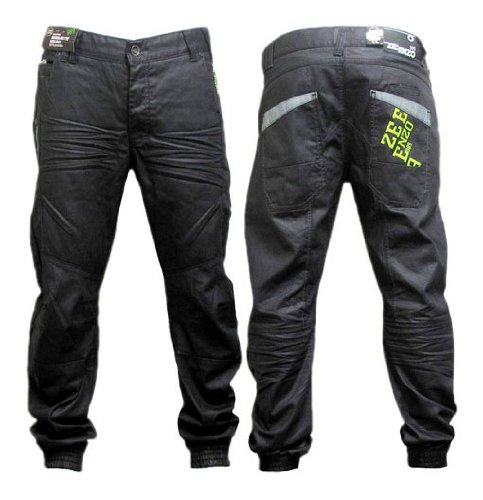 Black Premium Quality Mens Enzo Branded Italian Denim Stylish Joggers Jeans Trousers Coated & Cuffed Denim Jeans Black - Inside leg: 32