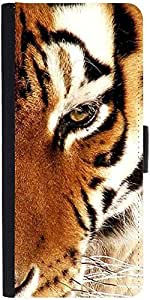 Snoogg Tiger 22 Designer Protective Phone Flip Case Cover For Intex Eco 102E