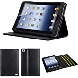 iPad Mini 3 & 2 & 1 Case Cover, QQ-Tech® 100% Genuine Leather Folio Case Cover with Built-in Stand for iPad Mini 3rd Generation (2014) / New iPad Mini Retina Display / iPad Mini - Smart Cover Wake Sleep - Black