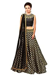 Isha Enterprise Women's Jacquard Black Lehenga Choli