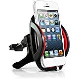 Abco Tech Air Vent Universal Car Mount Holder / Cradle for Cell Phones, IPhone 4 4S 5 5S 5C 6 - Samsung Galaxy S3 S4 S5 - Galaxy Note 2 3 - LG G2 - Motorola Moto X Droid HTC One, Nexus 5 And ALL SMARTPHONES - LIFE TIME SATISFACTION GUARANTEED! (Black Red)