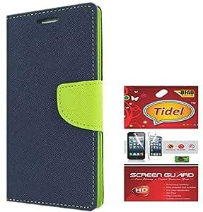 Tidel Premium Table Talk Fancy Diary Wallet Flip Cover Case for Motorola Moto E2 2nd Genaration (Blue) With Tidel Screen Guard