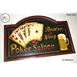 Pannello POKER SALOON Legno Quadro Arredamento Pub Taverna Bar Ristorante