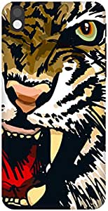The Racoon Grip Amber Snarling Tiger hard plastic printed back case / cover for HTC Desire 816