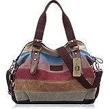 KISS GOLD(TM) Fashion Multi-Color Canvas Tote Hobo Shopper Handbag Shoulder Bag