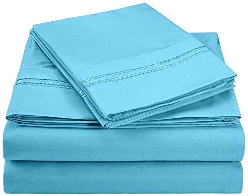 Super Soft, Light Weight, 100% Brushed Microfiber, Queen, Wrinkle Resistant, 4-Piece Sheet Set Aqua with 2-Line Embroidery in Gift Box