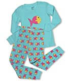 "Leveret Little girl ""Color Fish"" 2 Piece Pajama Set 100% Cotton (6M-7-8 Years)"