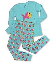 """Leveret """"Colorful Fish"""" 2 Piece Pajama set-6-12 Months"""