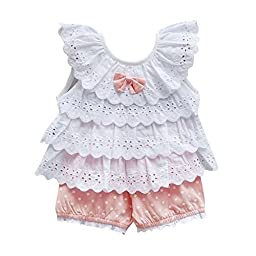 Kids Baby Girls Tops Polka Dot Lace Shirts T-shirt Shorts Pants Outfits Sets,6-12 Months,Pink