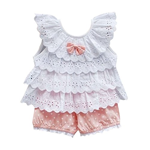 Kids Baby Girls Tops Polka Dot Lace Shirts T-shirt Shorts Pants Outfits Sets,12-18 Months,Pink