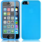 Fone-Stuff iPhone 5S 5 Case - Full Body Silicone Gel Skin Cover with See through Touchable Wallet flip Screen Protector (Blue)