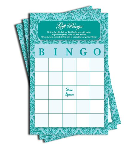 Gift Bingo - Baby Shower - Bridal Shower - Blue Teal Damask (50-sheets)