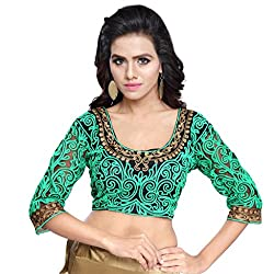 Try n Get's Green Color Gamti work Fashionable designer Blouse Piece