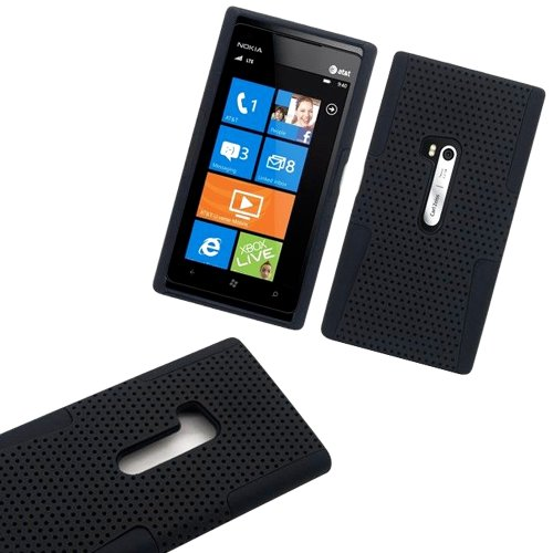 Mylife (Tm) Deep Matte Black Perforated Mesh Series (2 Layer Neo Hybrid) Slim Armor Case For The Nokia Lumia 920, 920.2, 920T And 920 4G Camera Smartphone By Microsoft (External Rubberized Hard Shell Mesh Piece + Internal Soft Silicone Flexible Gel + Life